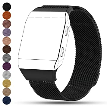 Correa de recambio para reloj inteligente Fitbit Ionic, acero inoxidable con ajuste de imán, unisex: Amazon.es: Deportes y aire libre