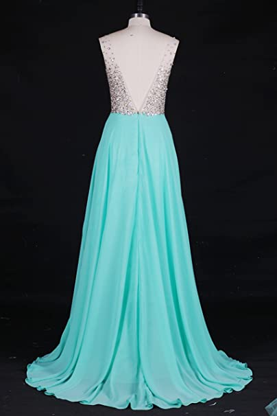 Rhinestone Beaded Evening Dress A-line Prom Dress Chiffon and Tulle Party Dress at Amazon Womens Clothing store: