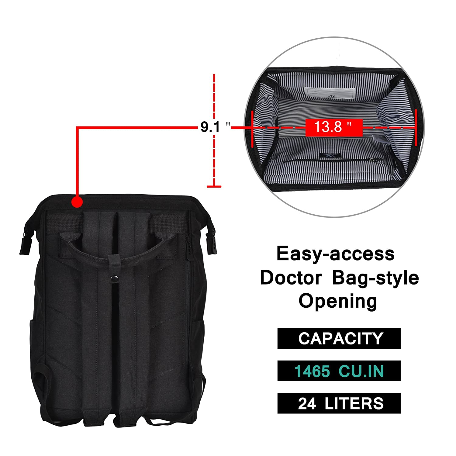veegul stylish doctor style canvas school backpack