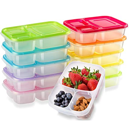 Amazoncom 10 PackMeal Prep Containers for Kids 3 Compartment