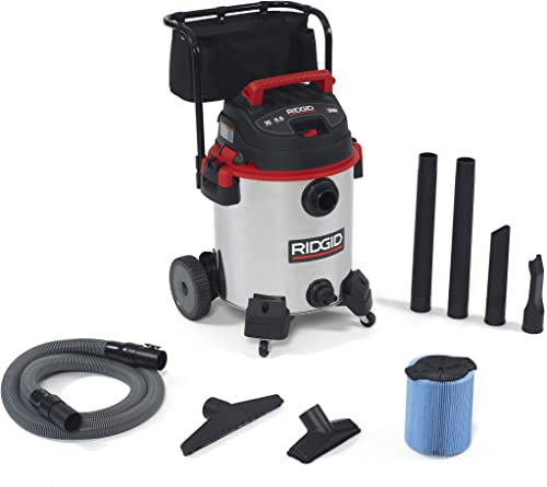 Ridgid 50353RID 1610RV Wet Dry Vacuum, Stainless Steel, 16 gal, Red