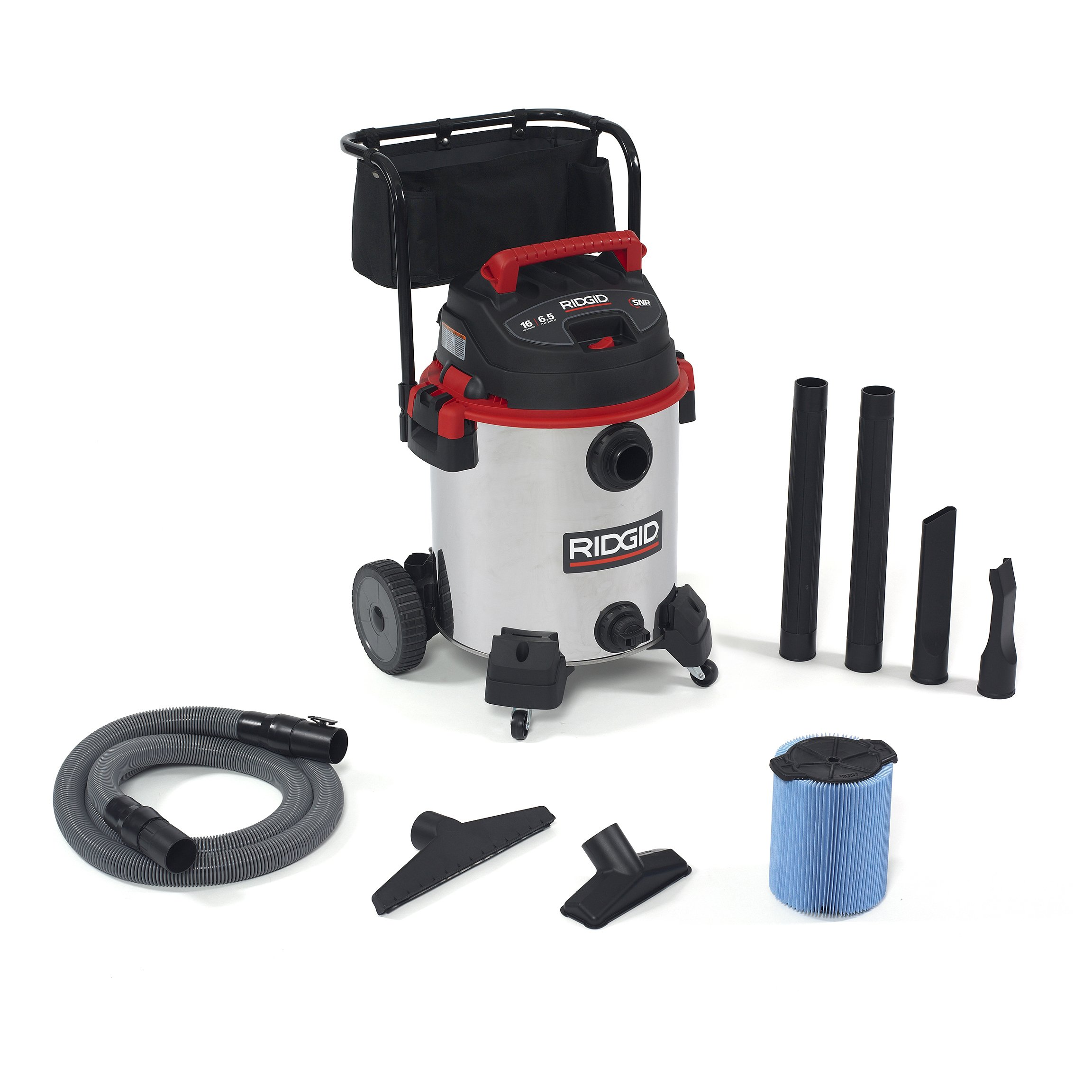 RIDGID 50353 1610RV Stainless Steel Wet Dry Vacuum, 16-Gallon Shop Vacuum with Cart, 6.5 Peak HP Motor, Large Wheels, Pro Hose, Drain, Blower Port by Ridgid