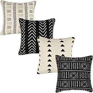 REDEARTH Printed Throw Pillow Cushion Covers-Woven Decorative Farmhouse Cases Set for Couch, Sofa, Bed, Farmhouse, Chair, Dining, Patio, Outdoor, car; 100% Cotton (18x18; Black) Pack of 4
