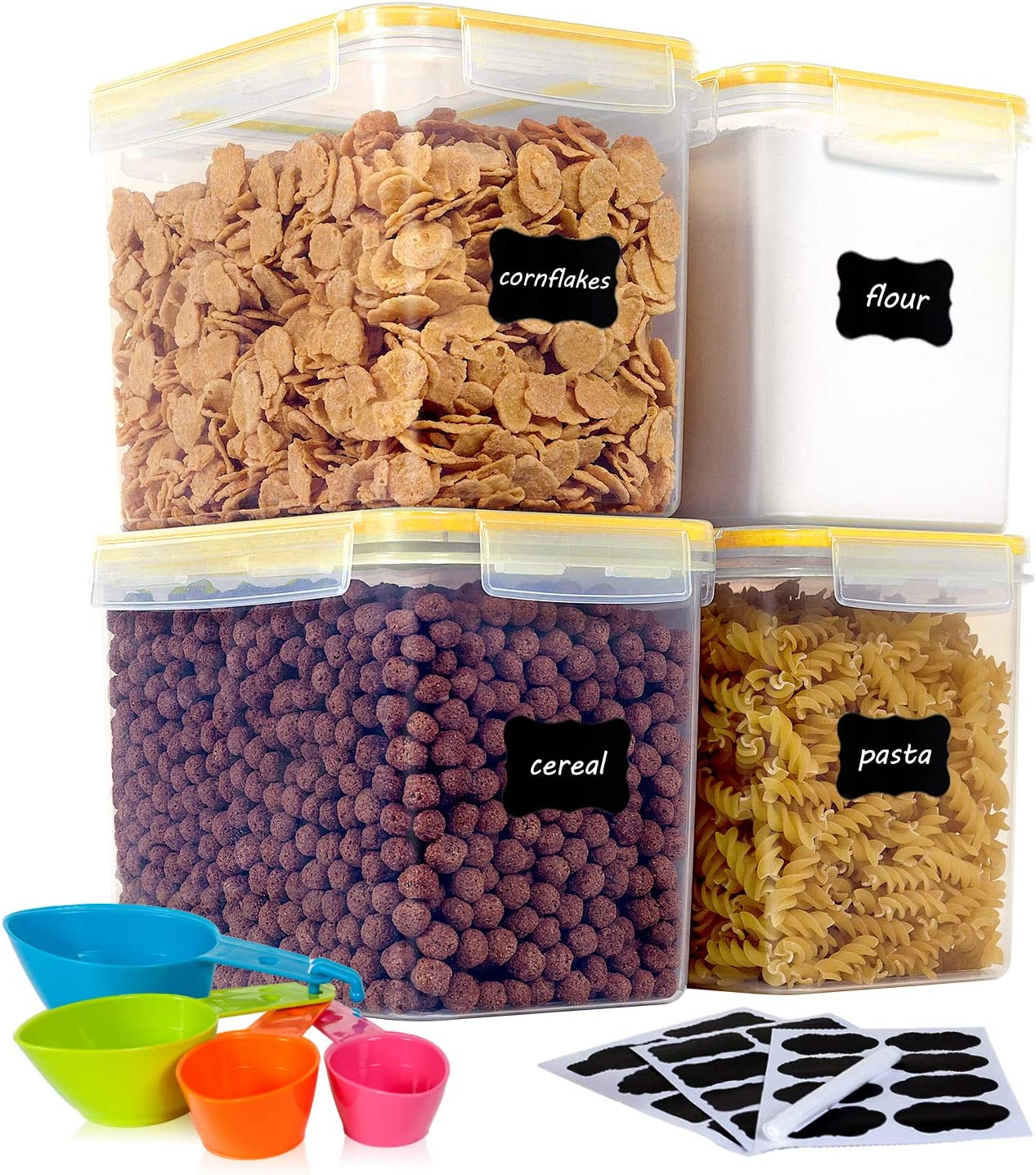 Vtopmart Airtight Food Storage Containers 4 Pieces 3.3 quart / 3.6L- Plastic PBA Free Kitchen Pantry Storage Containers for Sugar,Flour and Baking Supplies - Dishwasher Safe - Include 24 Labels