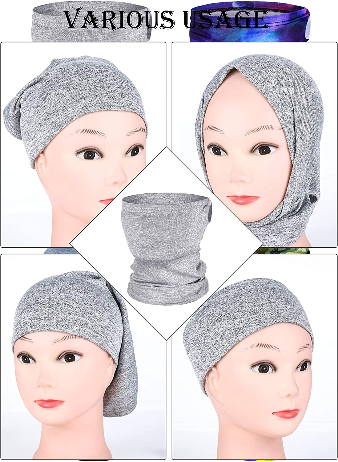Boao 6 Pieces Kids Summer Neck Gaiter Ice Silk Face Cover Bandanas Non-Slip Balaclava Neck Cover (Solid and Printed Color): Clothing
