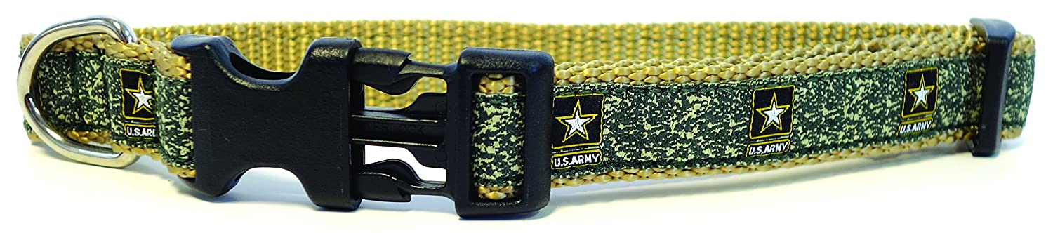 Army Small, 3 4\ Army Small, 3 4\ Son Sales, Inc. United States Military Logo Dog Collar (Small, 3 4  Wide, Army)