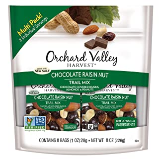 ORCHARD VALLEY HARVEST Chocolate Raisin Nut Trail Mix, 1 oz (Pack of 8), Non-GMO, No Artificial Ingredients