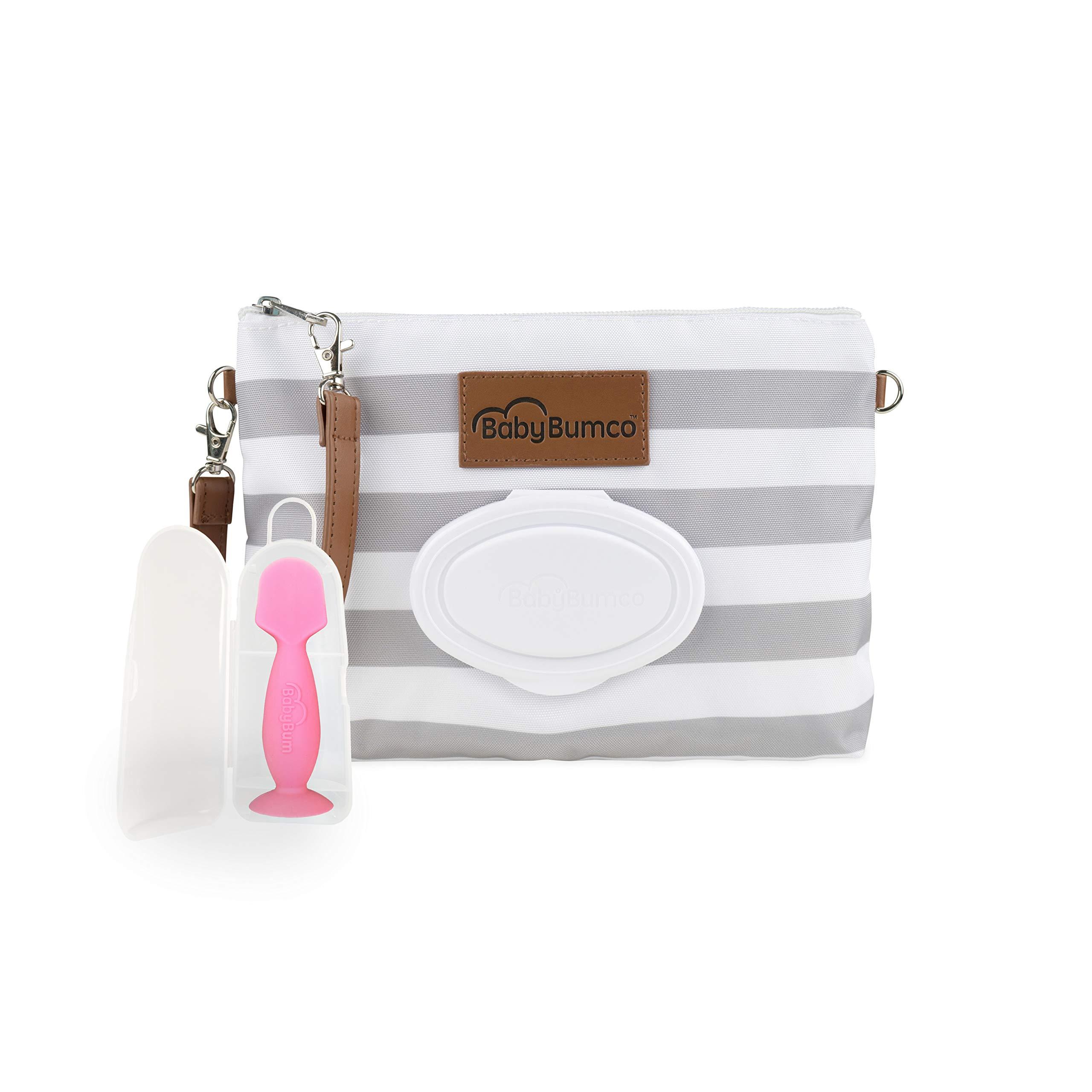BabyBum Diaper Clutch + Mini Diaper Cream Brush - Travel Essentials (Gray + Pink)