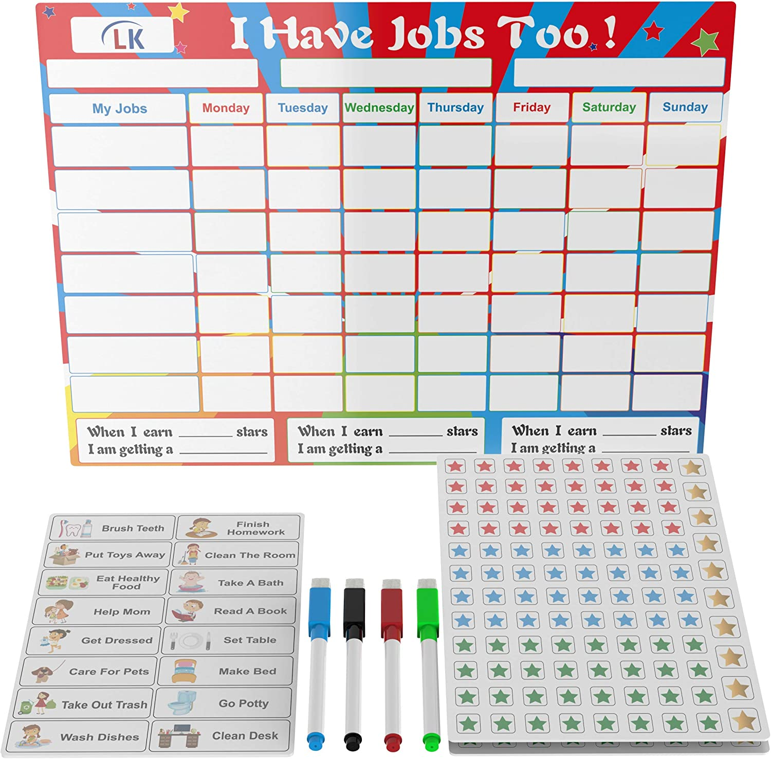 "ALOMAR Kids Chore Chart for Multiple Kids - Magnetic Dry Erase Responsibility Chart for Daily Routine Reward System - Great for 1 or Multiple Children - With BONUS Stars and Chore Ideas! - 16"" x 12"""