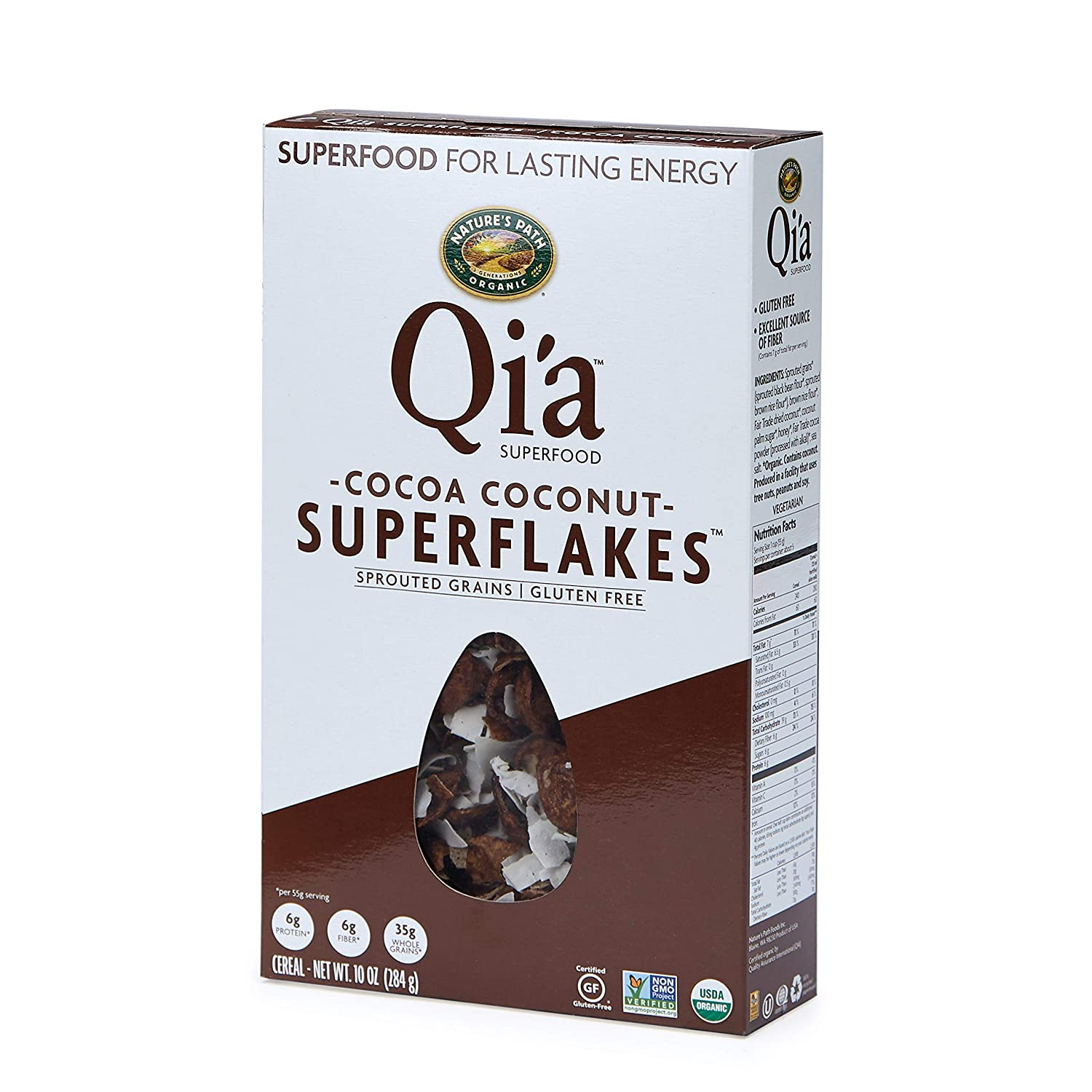 Nature's Path Qi'a Cocoa Coconut Superflakes Cereal, Healthy, Organic & Gluten Free, 10 Ounces (12 Count)