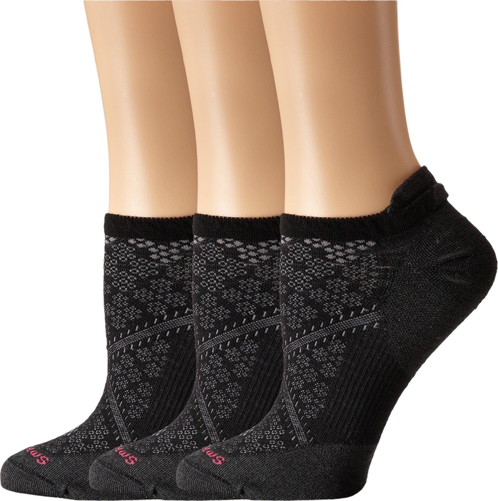Smartwool Women's PhD Run Ultra Light Micro 3-Pair Pack Black Socks MD (Women's Shoe 7-9.5)