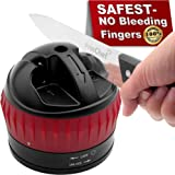 Knife Sharpener Safe Hands-free - with Non-slip Suction Cup | 2-Stages Professional Kitchen knife Sharpener for Straight Knife - Repair/Polish | Best Knife Sharpening Tool Quick and Razor Sharp, Black