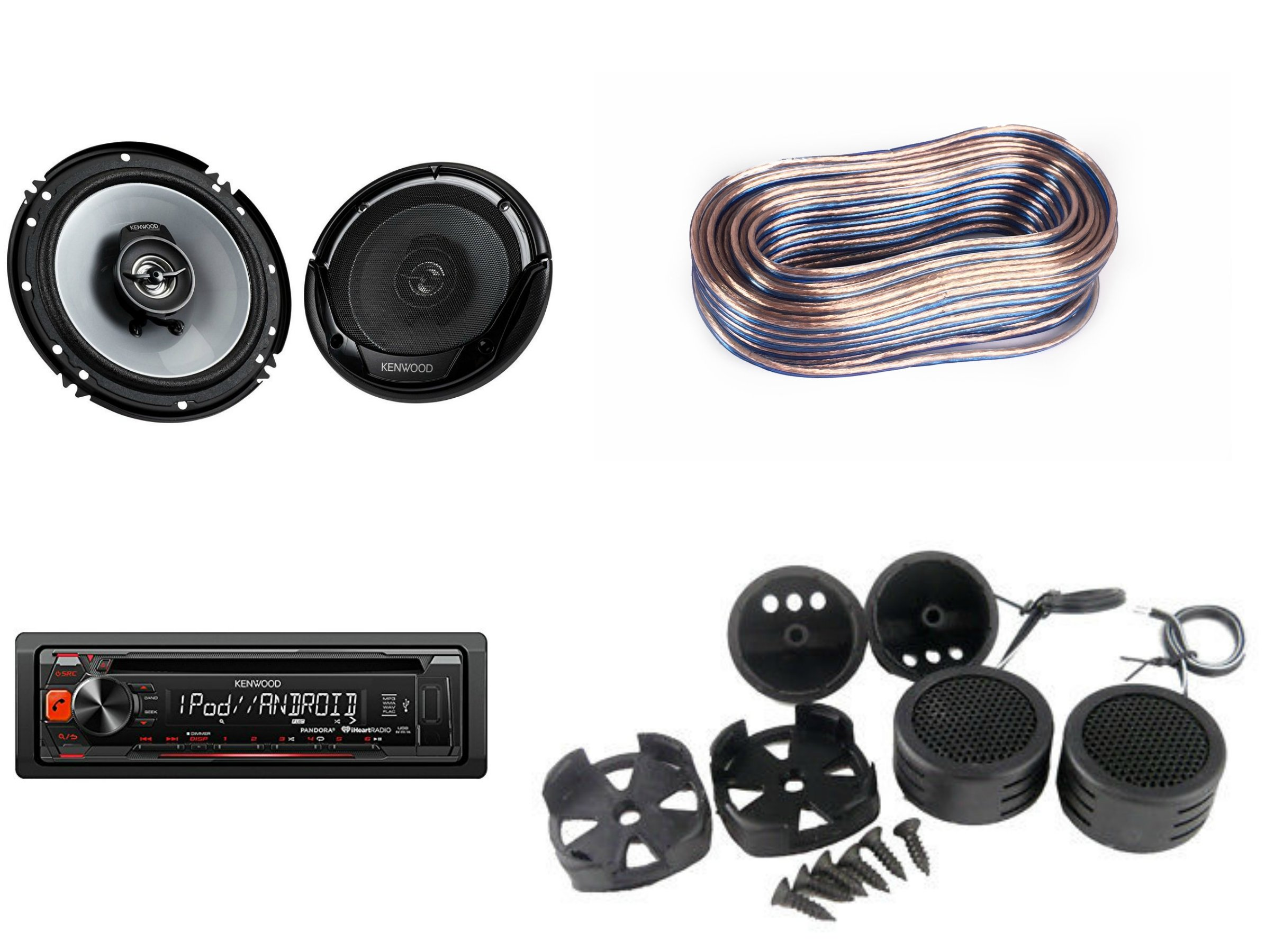 PACKAGE- PACKAGE- Kenwood KDCBT265U CD Receiver + (2) Kenwood KFC-1665S 300-Watt 6.5-Inch 2-Way Speakers + AB-204TW 300W Tweeter + 18 Gauge 100FT Speaker Wire
