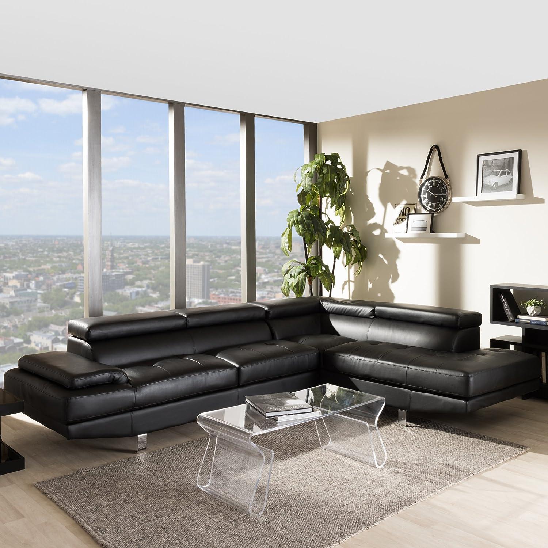 Amazon Baxton Studio Selma Leather Modern Sectional Sofa