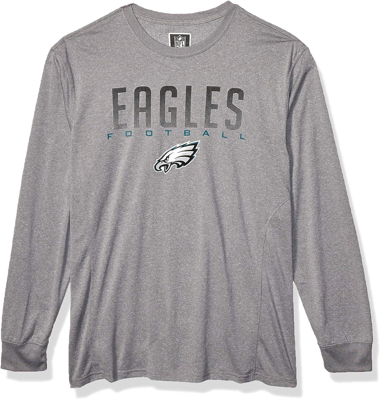 Heather Grey NFL Ultra Game Philadelphia Eagles Active Long Sleeve Tee Shirt Large