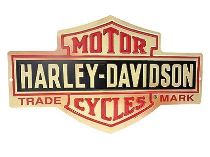 Harley Davidson Bar And Shield >> Harley Davidson Distressed Long Bar Shield Tin Sign 15 5 X 9 5 Inch 2010131