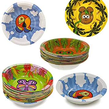 60ct Hefty Zoo Pals Rainforest Collection Animal Bowls Party Disposable Jungle  sc 1 st  Amazon.com & 60ct Hefty Zoo Pals Rainforest Collection Animal Bowls Party Disposable Jungle