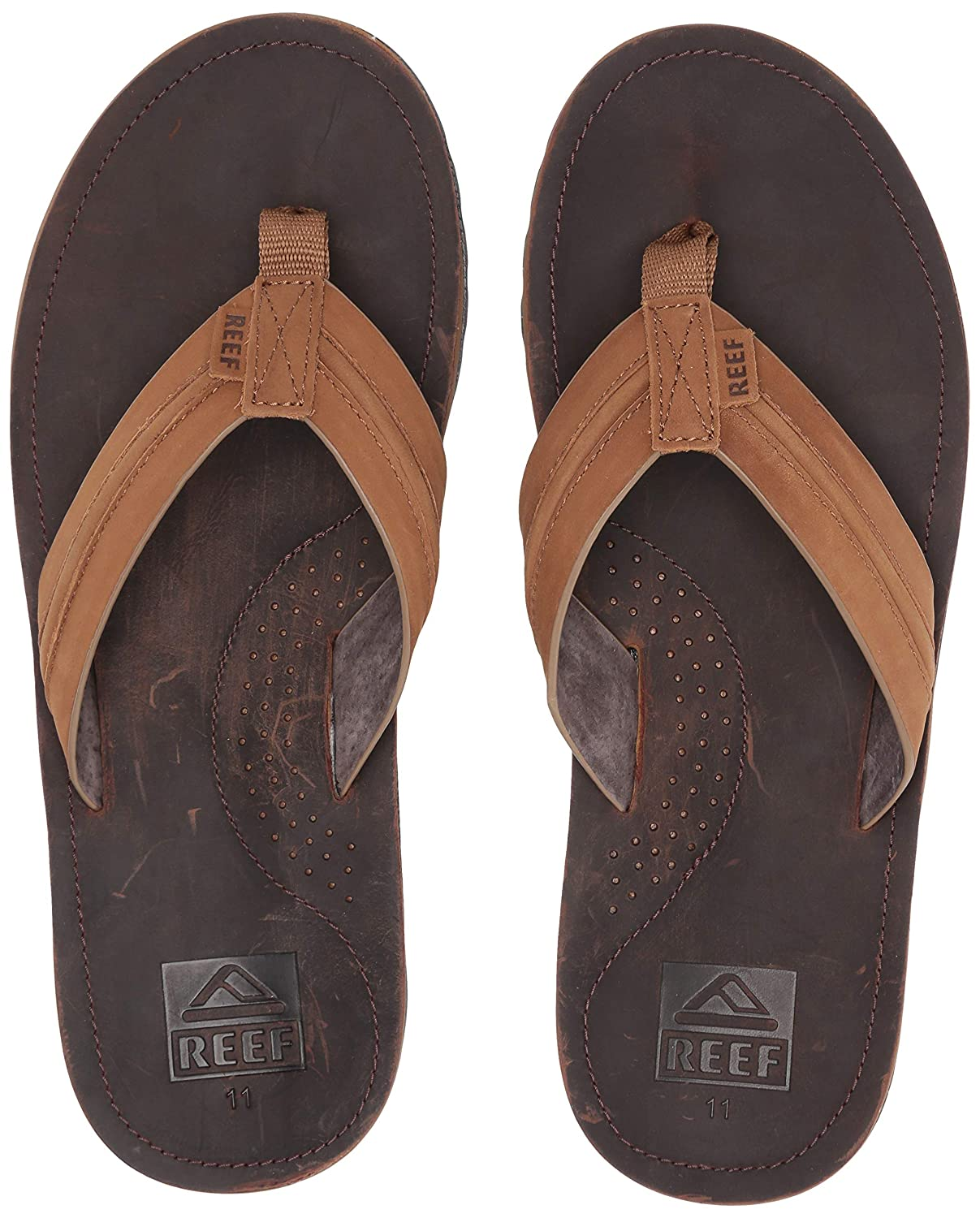 Premium Real Leather Flip Flops for Men With Soft Cushion Footbed Waterproof Reef Mens Sandal Voyage Lux