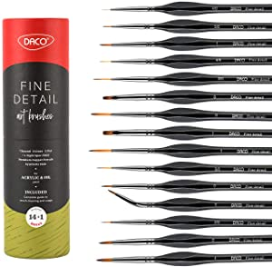 Daco Detail Paint Brush Set, 14pcs +1 Miniature Paint Brushes with Ergonomic Handle and Travel Bag, Painting Supplies for Acrylic, Oil, Watercolor, Paint by Numbers for Adults
