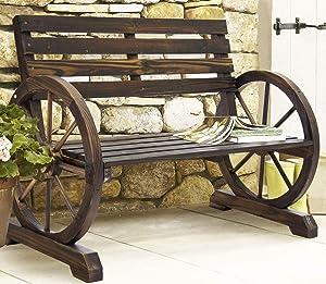 GooGGIG New Rustic Wood Design Moden Stlye Handmade, Home Garden Wagon Wheel Bench Decor