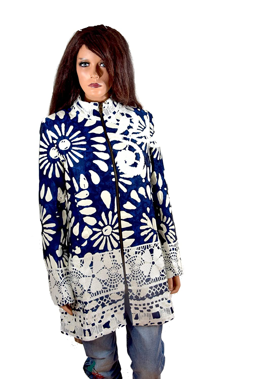 Desigual Damen Woman Mantel Coat Abrigo blau weiß *** IREA *** 65E20D0