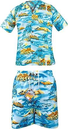 True Face Hombres Nueva Hawaiana Impreso Vacaciones Playa Hula Disfraz Camisa y Pantalones Cortos - -: Amazon.es: Ropa y accesorios