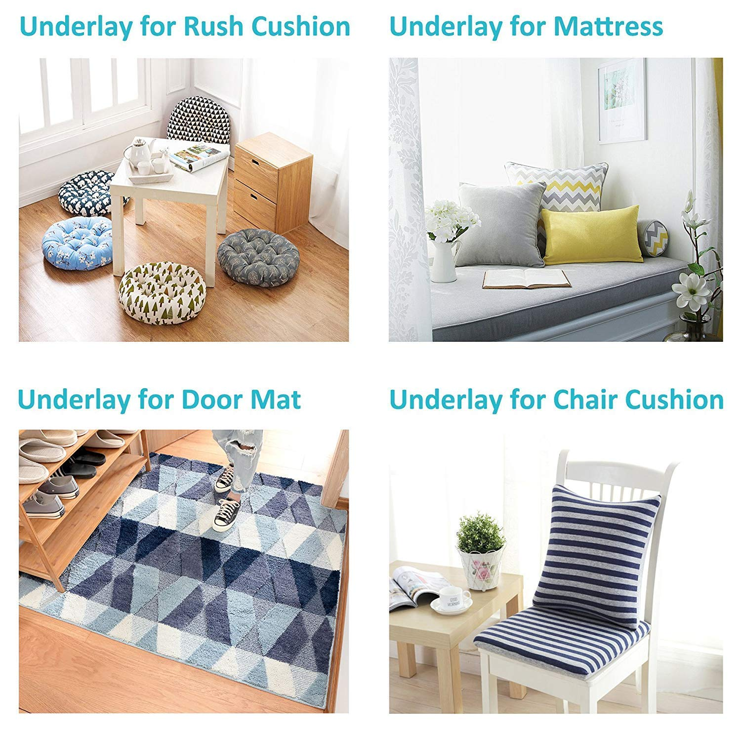 1 Pack BLS Non-Slip Cushion Underlay Couch Underlay Pad Keep Your Cushions Stay in The Place for Sofa Upgraded Double Sided Anti-Slip Silicone Felt in The Middle 24 x 24in