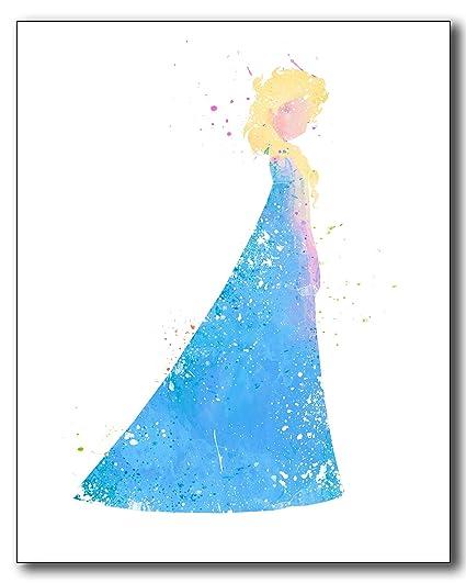 Elsa Frozen Disney Princess Watercolor Photo Prints
