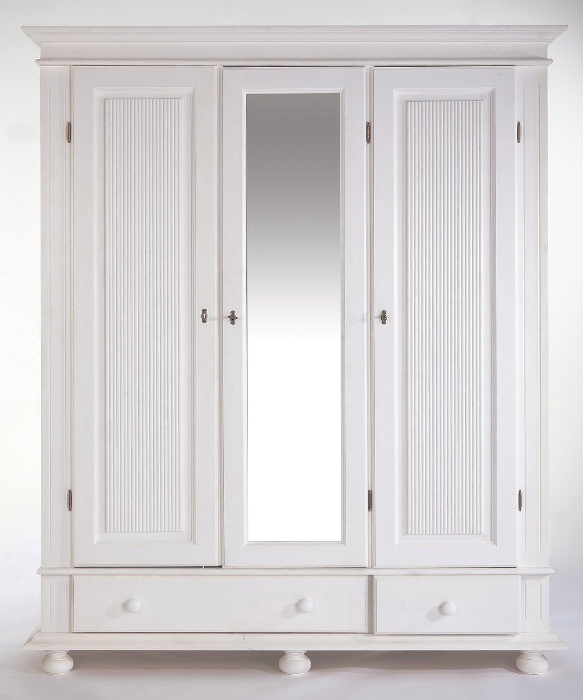 Kleiderschrank Kiefer massiv weiß 3 türig: Amazon.de: Küche & Haushalt
