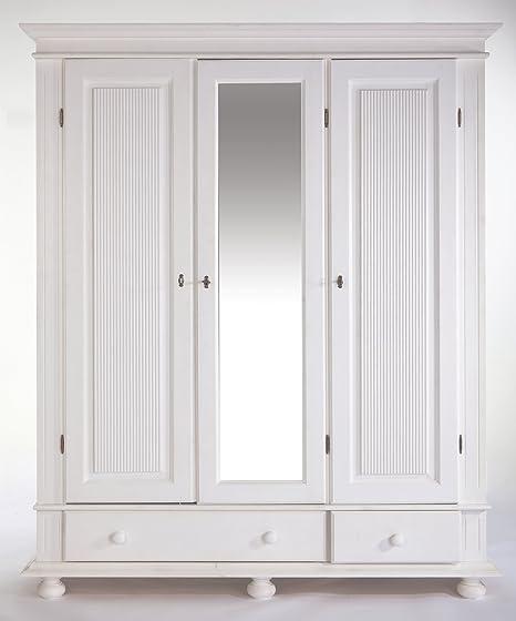 Kleiderschrank Kiefer Massiv Weiß 3 Türig Amazonde Küche