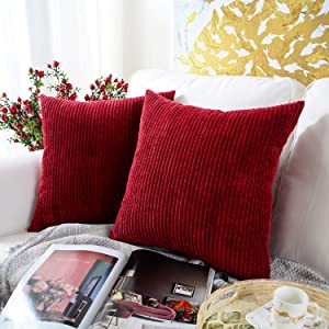 MERNETTE New Year/Christmas Decorations Corduroy Soft Decorative Square Throw Pillow Cover Cushion Covers Pillowcase, Home Decor for Party/Xmas 20x20 Inch/50x50 cm, Christmas Red, Set of 2