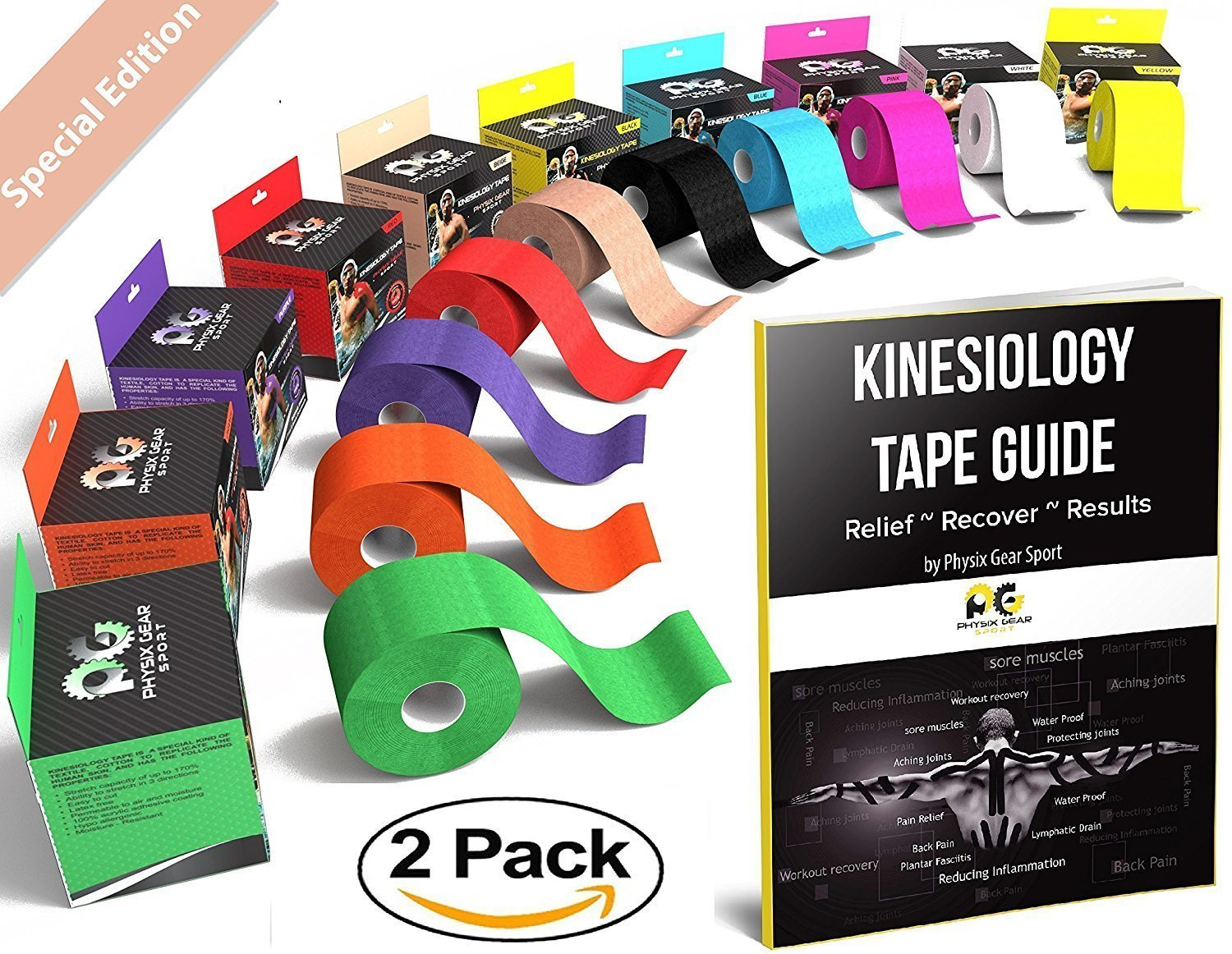 Physix Gear Sport Kinesiology Tape (2 Pack or 1 Pack) by, Best Waterproof Muscle Support Adhesive, 2in x 16.4ft Roll Uncut, Physio Therapeutic Aid for Injury Recovery, Free 82pg E-Guide -BEIGE 2 PACK by Physix Gear Sport