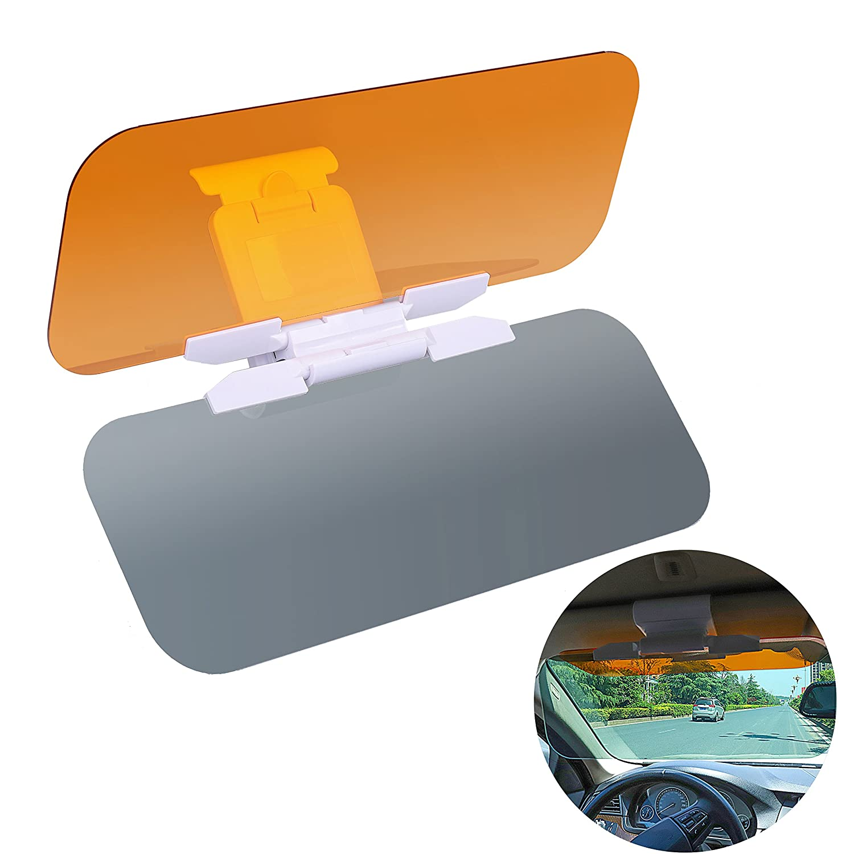 Car Sun Visors, Driving Visor Universal 2-in-1 Eye Protector Anti-Glare Anti-UV Anti-Dazzle with Adjustment Button QH-Shop