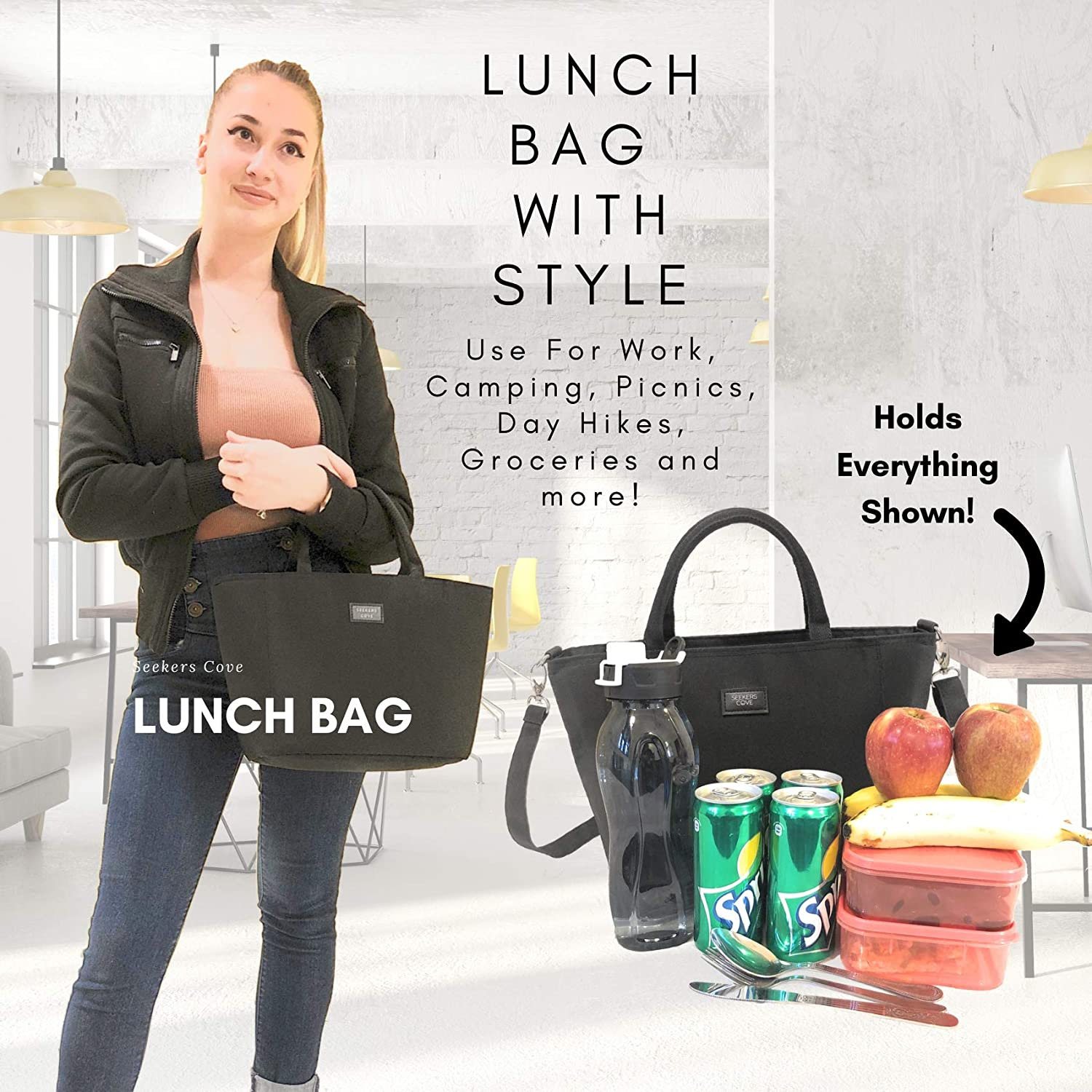 Black Quality 8L Lunch Tote Adjustable Strap Purse Style Lunch Bag with Side Pocket | Womens Lunch Bag by SEEKERS COVE with Shoulder Strap for Work School 5mm Thick Insulation