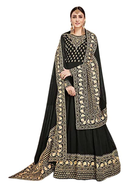 f9c75310a68 Shoppingover Indian Pakistani Wedding Anarkali Suit Fabric for women-Black  Color  Amazon.in  Clothing   Accessories