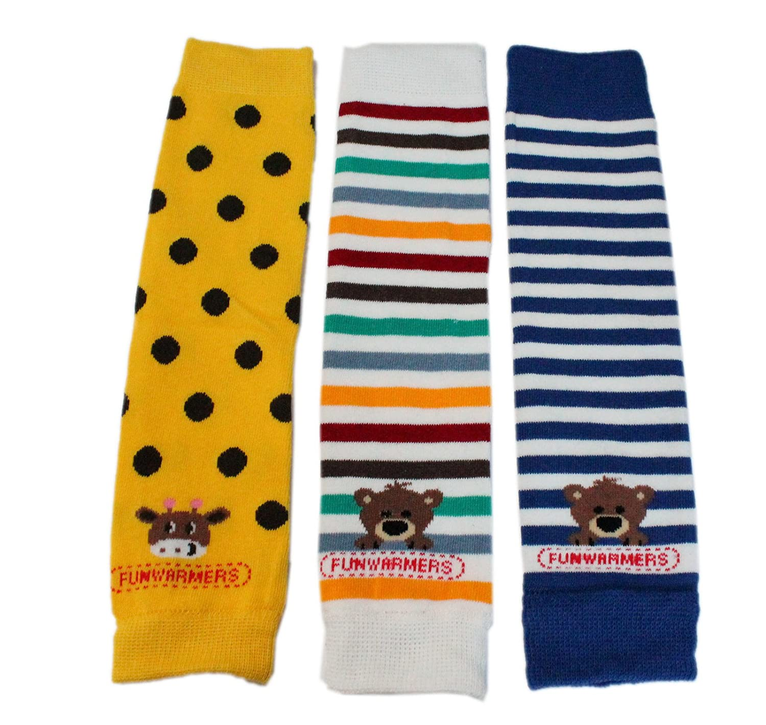 Baby Toddler Boy Leg Warmers Pack of 3 - COLOURFUL BLUE STRIPED BEAR YELLOW POLKA GIRAFFE