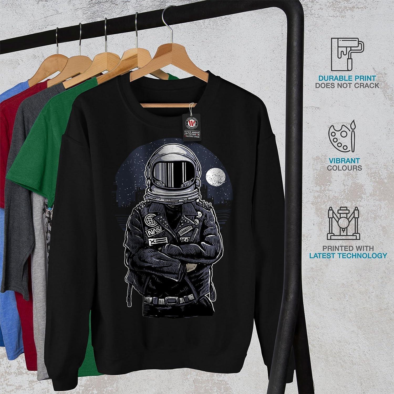 wellcoda Space Biker Night Fashion Mens Sweatshirt Casual Jumper