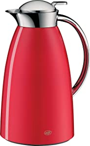 alfi Gusto Glass Vacuum Lacquered Metal Thermal Carafe for Hot and Cold Beverages, 1.0 L, Red