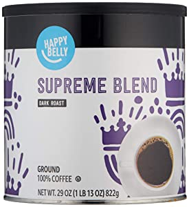 Amazon Brand - Happy Belly Supreme Blend Canister Coffee, Dark Roast, 29 Ounce