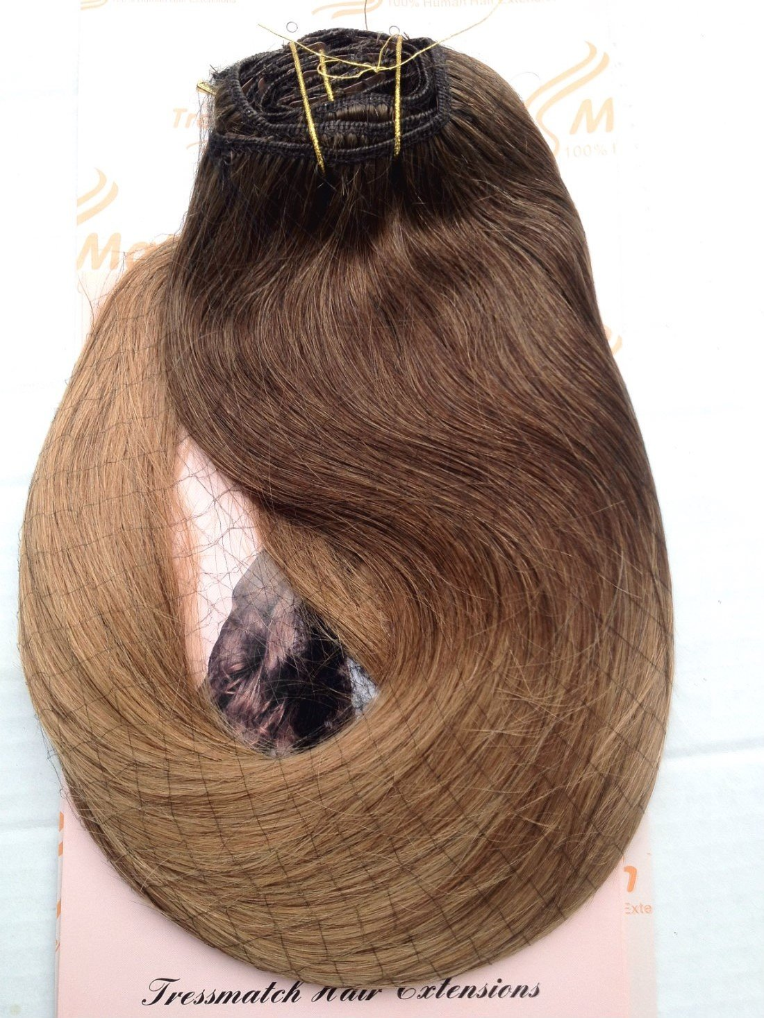 """TRESSMATCH 20""""(22'') Clip in Remy (Remi) Human Hair Extensions Ombre/dip Dye Chestnut/medium Brown to Caramel Blonde 10 Pieces(pcs) Thick to Ends Full Head Volume Set [Set Weight:5.6oz/160grams]"""