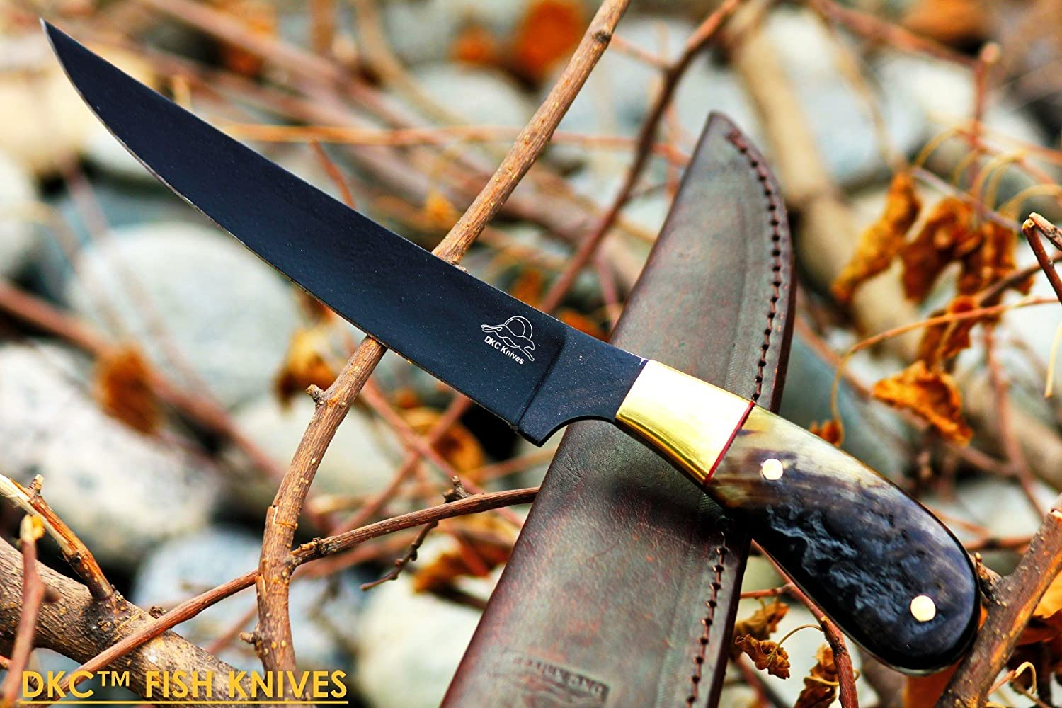 28 5 18 DKC-612 Black STAG Fishing Filet Knife Hunting Handmade Knife Fixed Blade 8.5 oz 11 Long 6 Blade