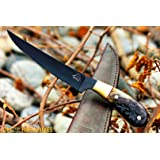 "DKC-612 BLACK STAG FISHING Filet KNIFE Hunting Handmade Knife Fixed Blade 8.5 oz 11"" Long 6"" Blade"