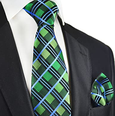 7e3a9da3f189 Amazon.com: Green and Blue Plaid Paul Malone Silk Tie and Pocket Square:  Clothing
