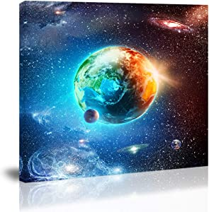 Blue Earth in The Space Wall Art Decor Planet Universe Star Canvas Painting Kitchen Prints Pictures for Home Living Dining Room