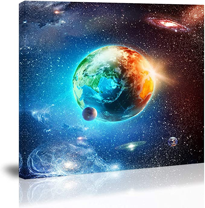 Peinture sur toile représentant la Terre bleue dans l'espace, décoration  murale, planète, univers, étoiles, pour la cuisine, le salon, la salle à  manger: Amazon.ca: Maison et Cuisine