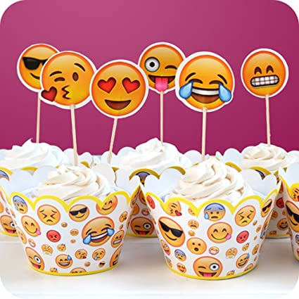GUGUJI Funny Emoji Cupcake Toppers Picks And Wrappers For Wedding Birthday Decoration Supplies