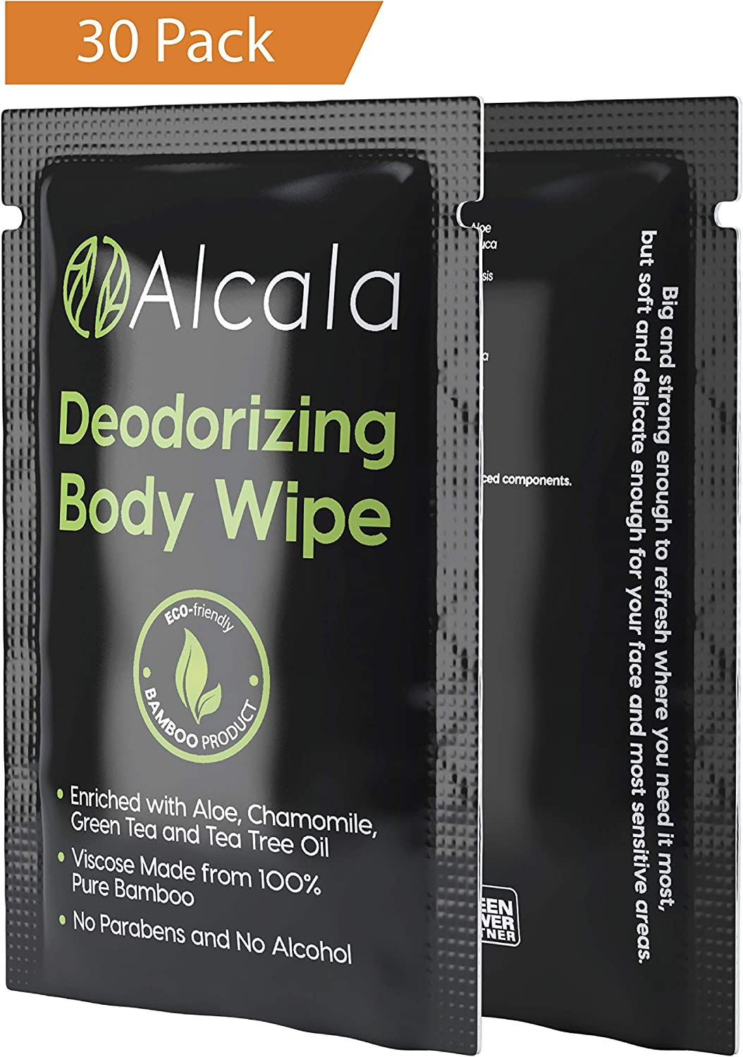 Deodorizing Body Wipes 100% Pure Bamboo with Tea Tree Oil, Individually Wrapped Biodegradable Shower Wipes, Extra Large 10 x10 inches (30 Pack)