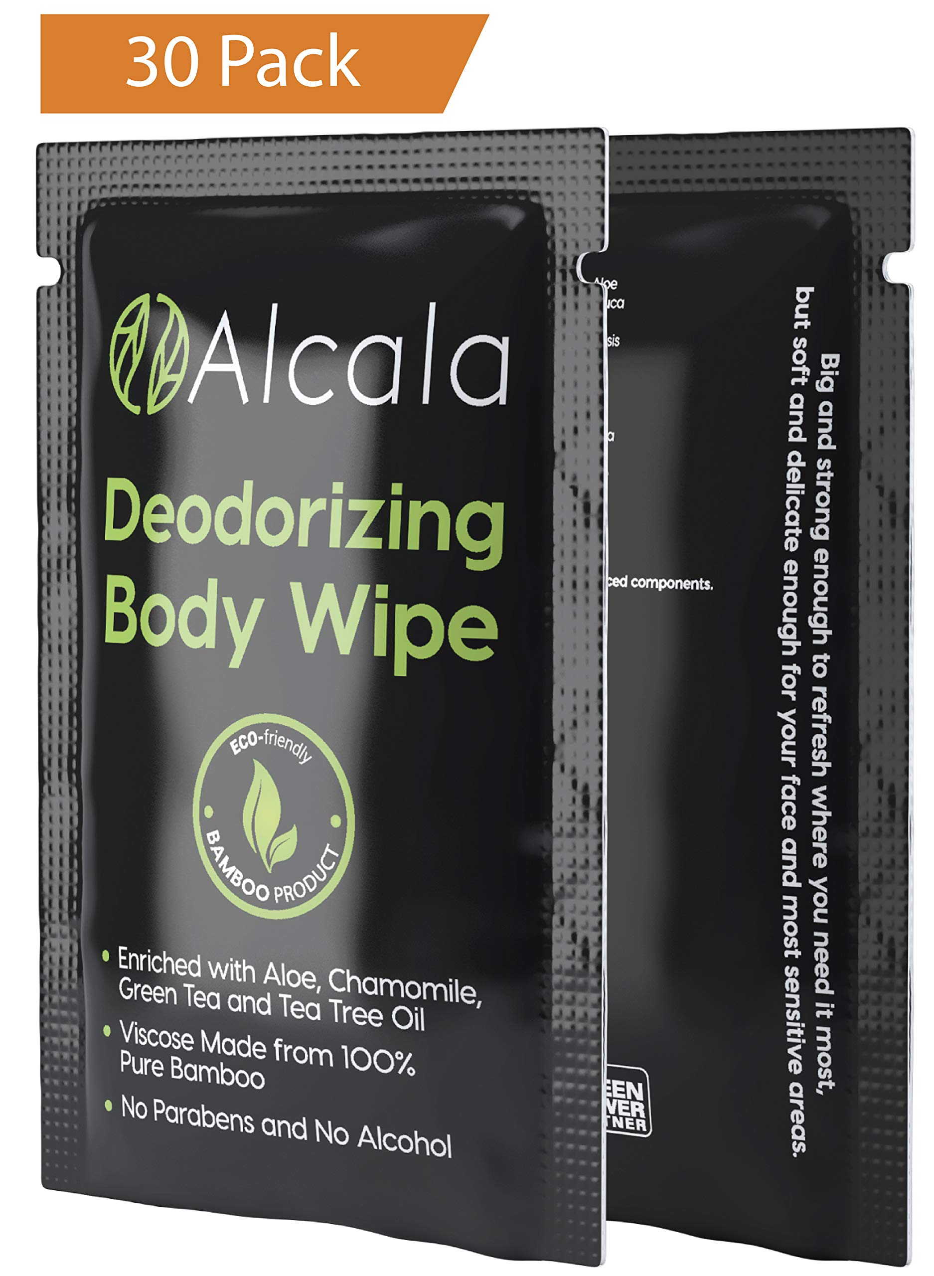 Deodorizing Body Wipes 100% Pure Bamboo with Tea Tree Oil, Individually Wrapped Biodegradable Shower Wipes, Extra Large 10 x10 inches (30 Pack) by Alcala