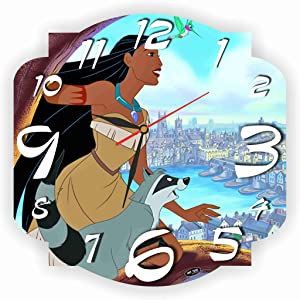 ART TIME PRODUCTION Pocahontas 11'' Handmade Wall Clock - Get Unique décor for Home or Office – Best Gift Ideas for Kids, Friends, Parents and Your Soul Mates