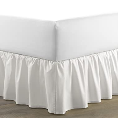 Laura Ashley LA Solid Ruffled Bed Skirt Queen White